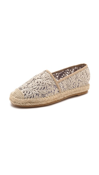 Shop Jeffrey Campbell online and buy Jeffrey Campbell Nia Lace Espadrilles - Beige - Sheer, embroidered lace gives these Jeffrey Campbell espadrilles a charming element. A braided raffia sidewall adds summer ready appeal. Rubber sole. Imported, China. This item cannot be gift boxed. Measurements Platform: 1in / 25.0mm. Available sizes: 8.5,10