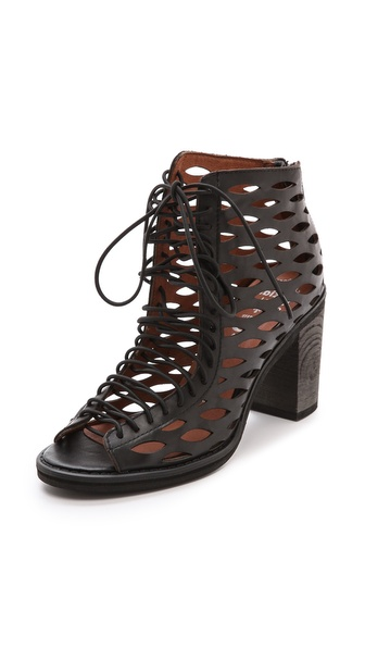 Jeffrey Campbell Cors Laser Cut Laced Sandals - Black