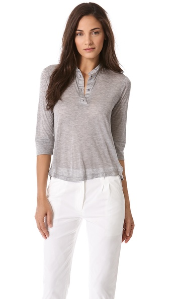 Jenni Kayne Side Slit Henley Top
