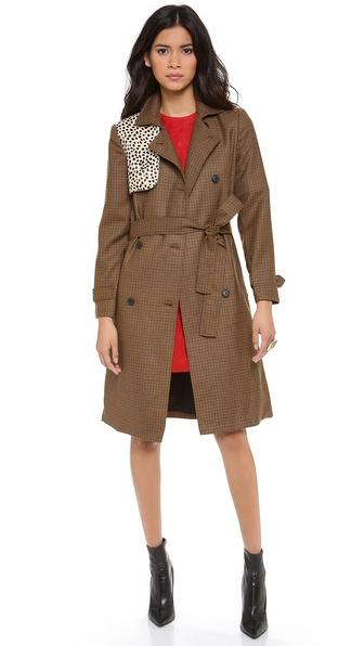 Jenni Kayne Haircalf Gun Flap Trench Coat