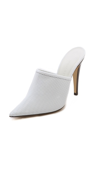 Jenni Kayne Perforated Pointed Toe Mules - White at Shopbop / East Dane
