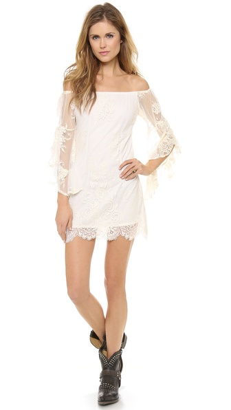 Jen'S Pirate Booty Ethereal Bardot Mini Dress - White Sand