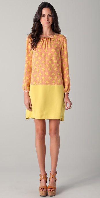 Jill Stuart Lena Print Long Sleeve Dress