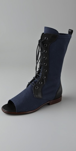 Jil Sander Navy Open Toe Mid Calf Boots