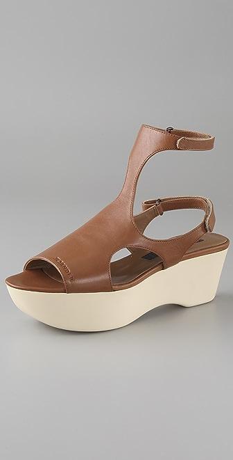 Jil Sander Navy T Strap Wedge Sandals