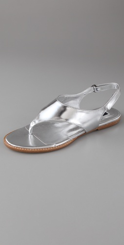 Jil Sander Navy Mirrored Flat Thong Sandals