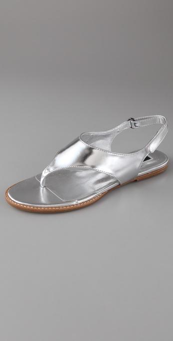 Jil Sander Navy Mirrored Flat Thong Sandals