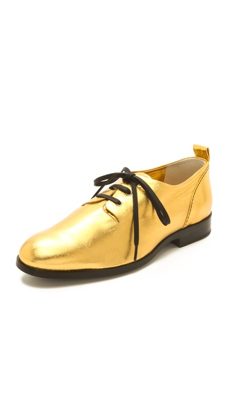 Jil Sander Navy Lace Up Flat Oxfords