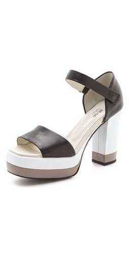 Jil Sander Navy Platform Sandals with Quarter Strap at Shopbop.com