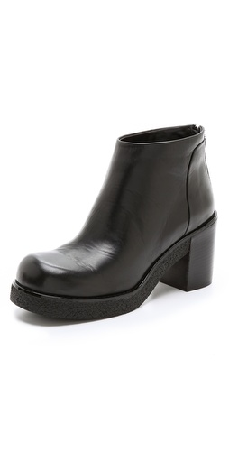 Jil Sander Navy Stacked Heel Platform Booties at Shopbop / East Dane
