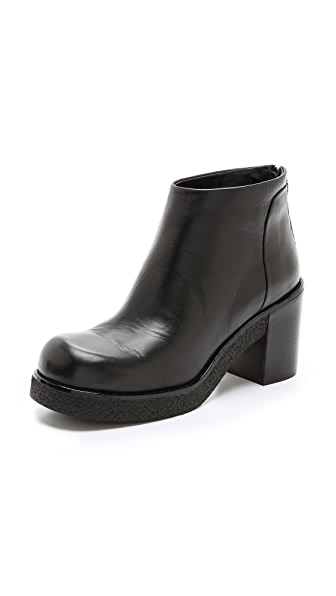Jil Sander Navy Stacked Heel Platform Booties