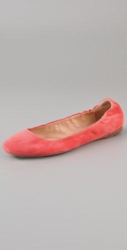 Jil Sander Suede Elastic Topline Flats