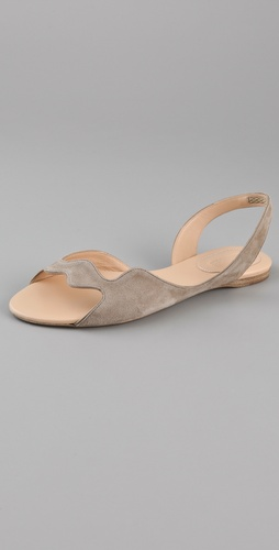 Jil Sander Wavy Suede Flat Sandals