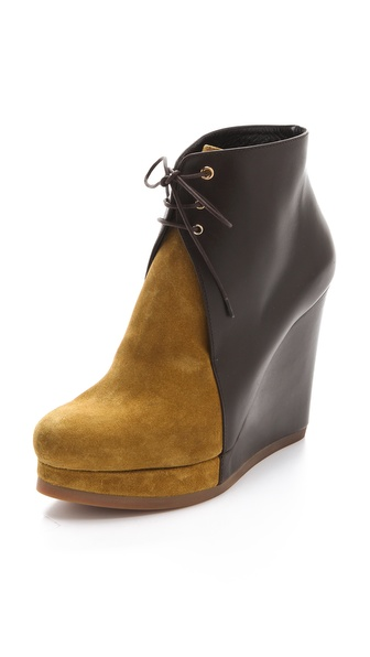 Jil Sander Lace Up Wedge Booties