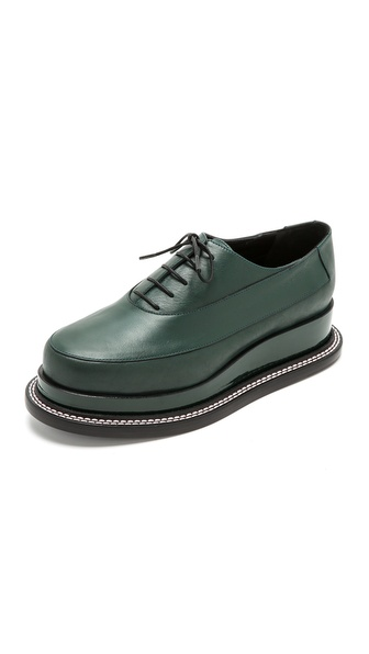 Jil Sander Platform Oxfords - Green