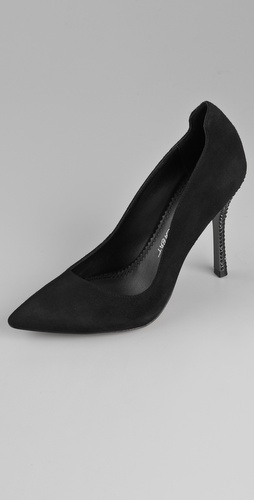 Jean-Michel Cazabat Indria Suede Crystal Heel Pumps