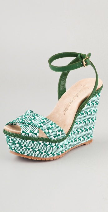 Jean-Michel Cazabat Holly Two Tone Wedge Sandals