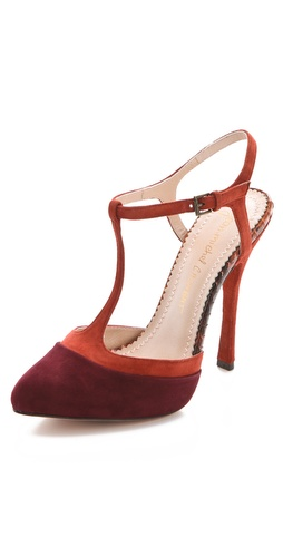Jean-Michel Cazabat Zelia Suede T Strap Pumps