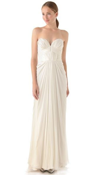 J. Mendel Strapless Pleated Gown