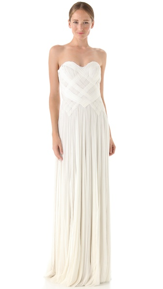 J. Mendel Strapless Woven Gown