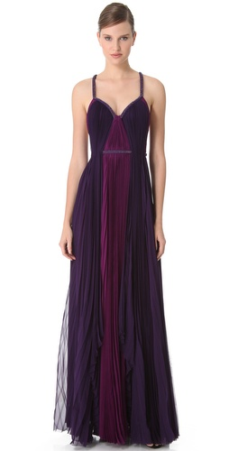J. Mendel Two Tone Gown with Beaded Straps