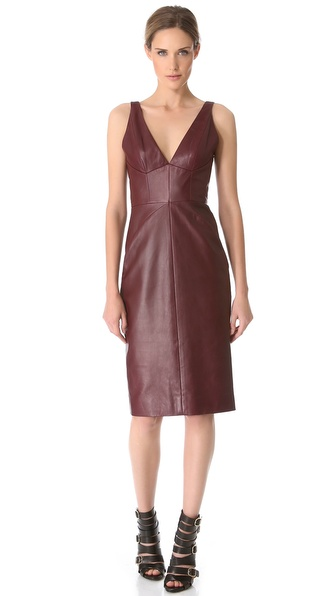 J. Mendel Leather V Sheath Dress