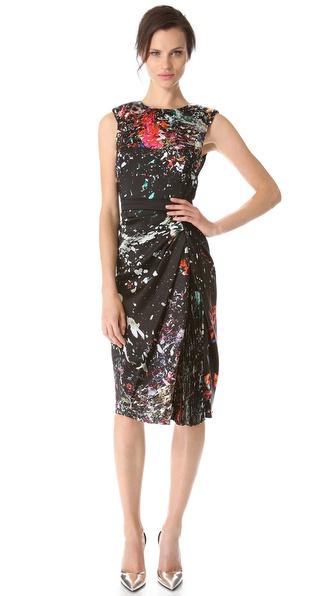 J. Mendel Sleeveless Dress with Hidden Pleats
