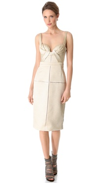 J. Mendel Draped Bustier Dress