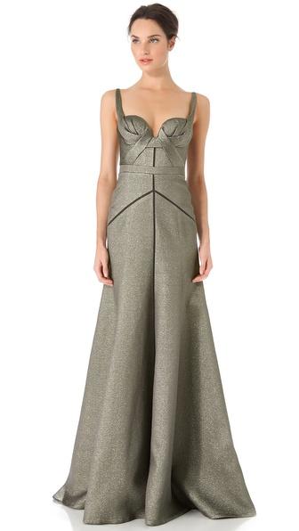 J. Mendel Full Skirt Bustier Gown