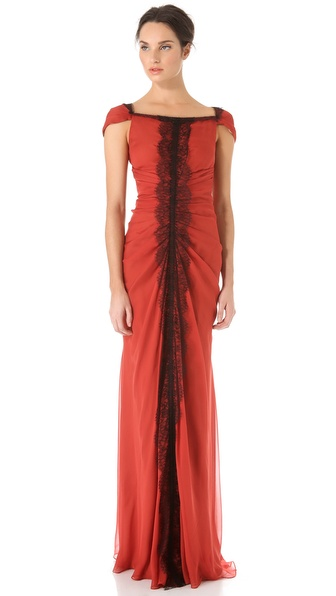 J. Mendel Lace Trim Ruched Gown