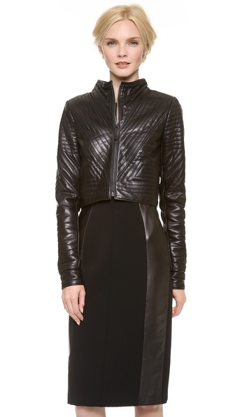 J. Mendel Geometric Leather Cropped Jacket