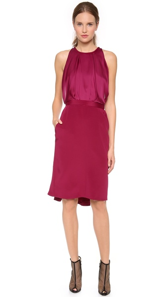 J. Mendel Crewneck Dress with Blouson Front