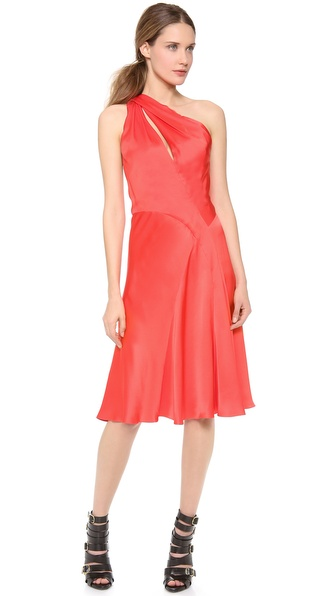 J. Mendel One Shoulder Draped Cocktail Dress