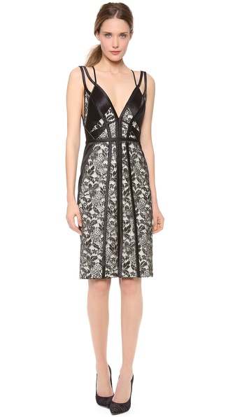 J. Mendel Fitted V Neck Dress with Cutouts