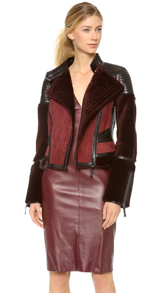 J. Mendel Colorblock Motorcycle Jacket with Mink Fur