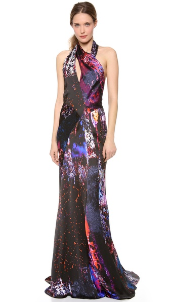 J. Mendel Print Turtleneck Dress