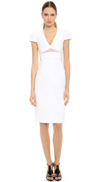 J. Mendel V Neck Cap Sleeve Dress