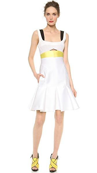 J. Mendel Silk Paneled Colorblocked Dress