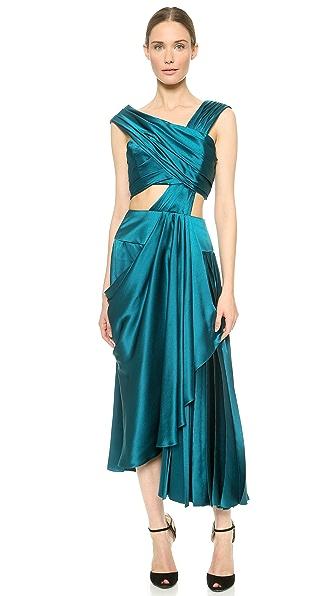 Kupi J. Mendel haljinu online i raspordaja za kupiti J. Mendel Asymmetrical Dress With Cutout Top Empress Green online