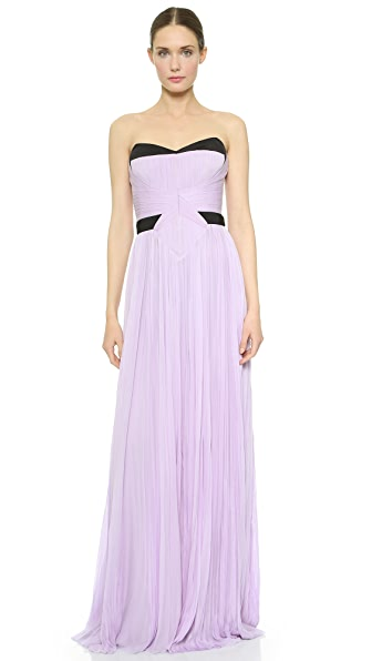 Shop J. Mendel online and buy J. Mendel Strapless Pleated Gown - Lilac dresses online