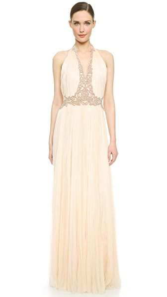 V Neck Pleated Gown (Multicolor)