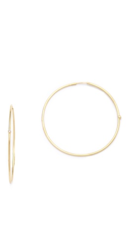 Jennifer Meyer Jewelry 18k Gold Diamond Hoop Earrings