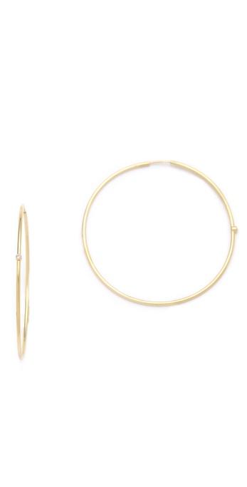 Jennifer Meyer Jewelry 18k Gold Diamond Hoop Earrings