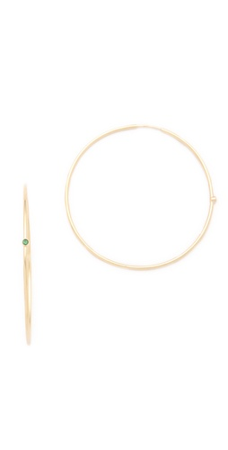 Jennifer Meyer Jewelry 18K Gold and Stone Hoop Earrings