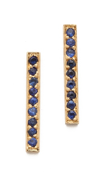Jennifer Meyer Jewelry 18k Gold Bar Sapphire Stud Earrings