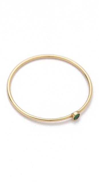 Jennifer Meyer Jewelry 18k Gold Thin Emerald Ring