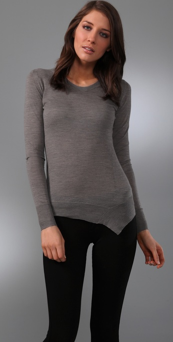 JNBY Crew Neck Sweater with Asymmetrical Hem