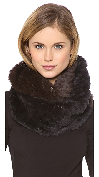Jocelyn Rabbit Fur Colorblock Infinity Scarf