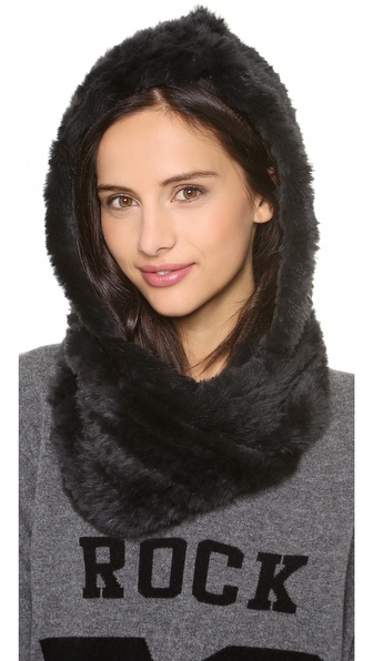 Jocelyn Rabbit Fur Hood Infinity Scarf