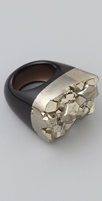 Jody Candrian Jewelry Black Quartz & Pyrite Ring